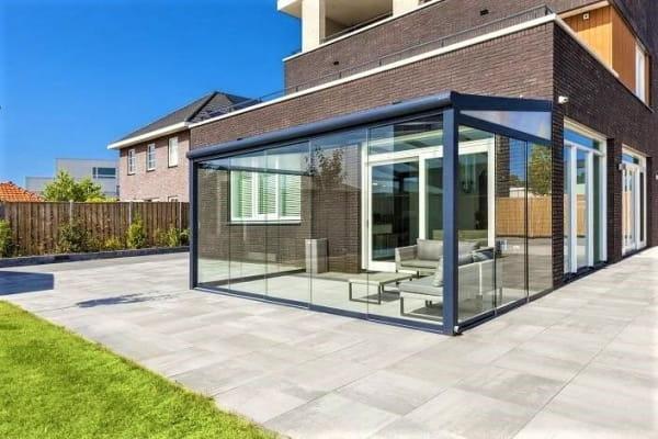 Schiebewandsystem für Terrasse fünf Glasscheiben
