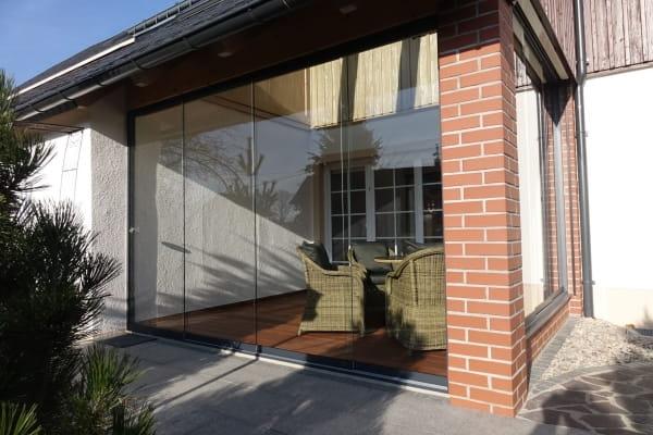 4 teilig Breite 247- 383cm/ Höhe 248- 250cm / DELUXE PROFI Glasschiebewand