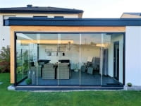 Glas Schiebewand für Gartenzimmer Bungalow