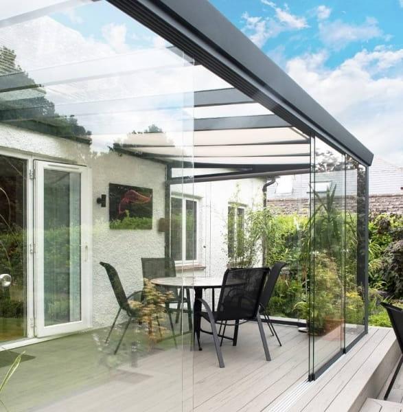 Glas Sommergarten 2 Stützen 400 bis 600cm Breite