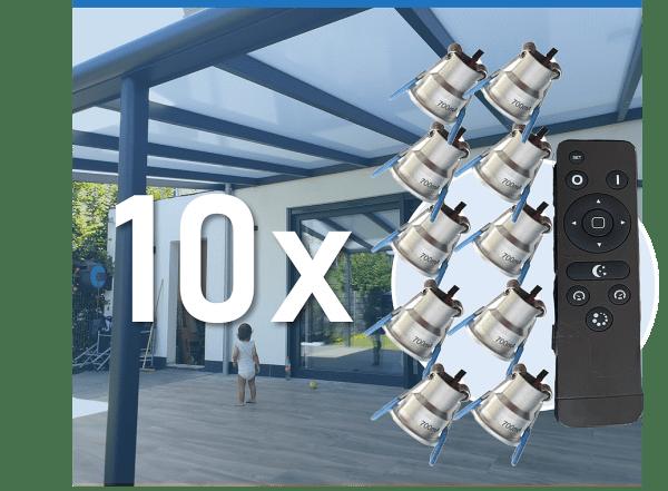 10er Set LED Strahler zum Einbau in Terrassenüberdachung