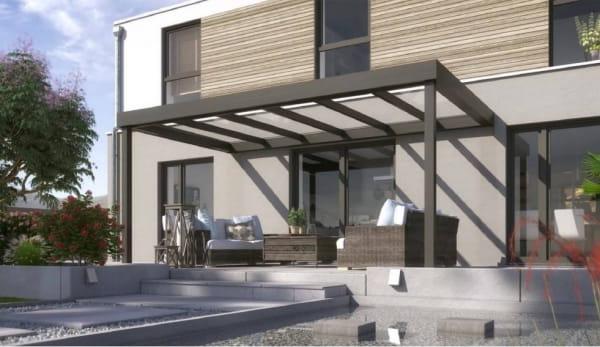 Terrassendach Flatroof Wandmontage mit kubistischer Rinnenfprm