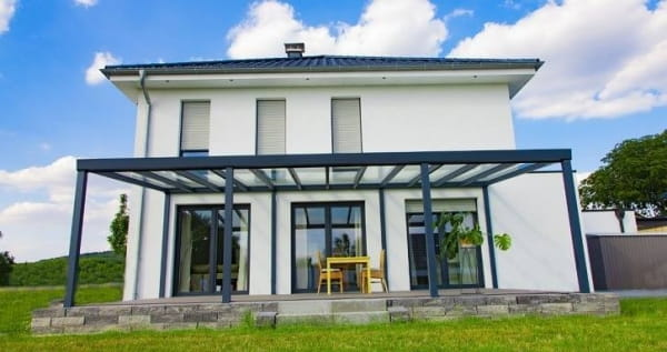 Bausatz Alu Terrassendach für Glas vorbereitet