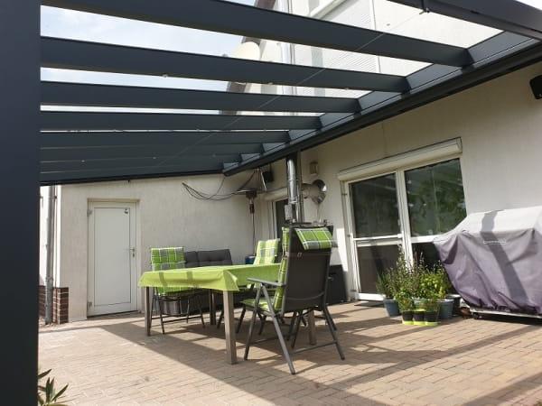 Ausladung bis 600cm mit Glas Terrassendach