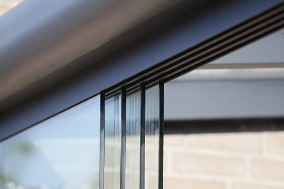 Glasschiebewandsystem Bausatz vier teilig anthrazit