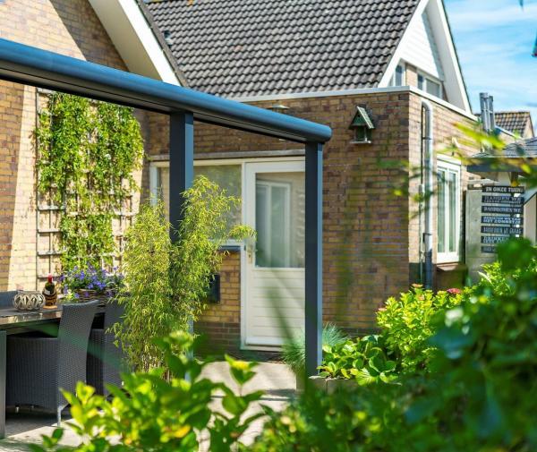 Terrassendach mit runder Rinne und eckigen Stützen